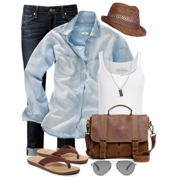 Boyfriend Style by wishlist123, via Polyvore - different shoes and bag, but otherwise it's cute and comfy for a lazy day.