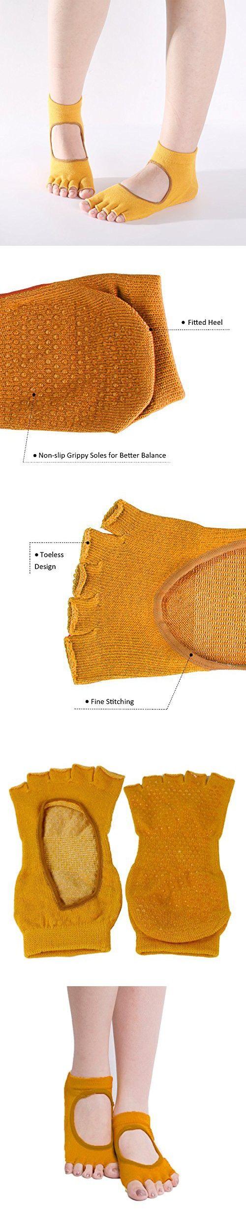 Grippy Toeless Yoga Socks Non Slip Skid Pilates Barre Half Toe Socks for Girls Women (Ochre, M, Pack of 1)