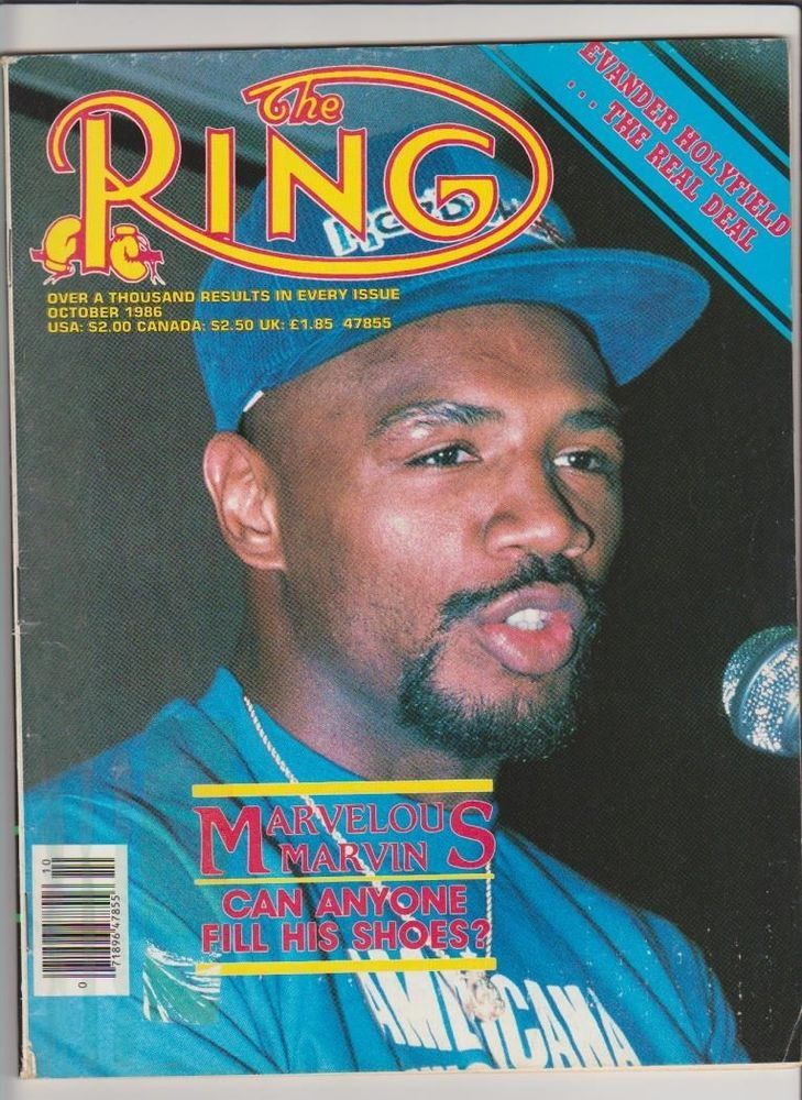the ring magazine marvelous marvin hagler boxing hofer cover october 1986 from $22.95