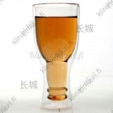 Kaksikerroksinen kaljapullo lasi