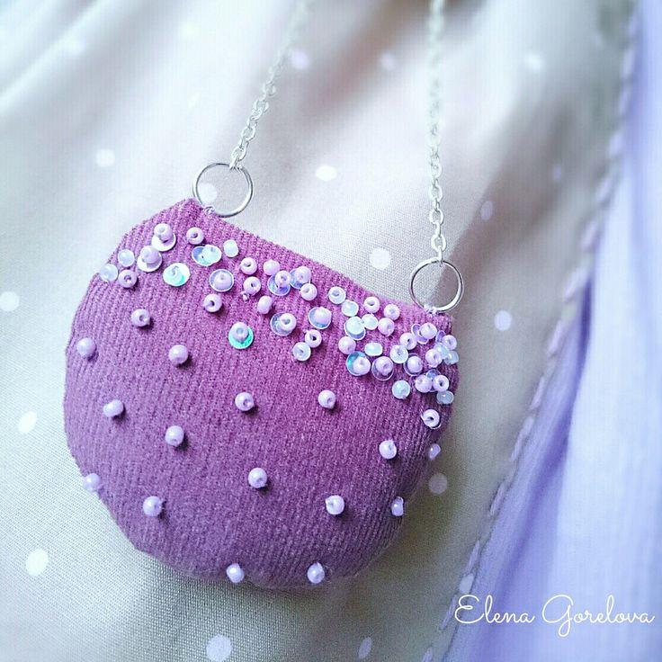 Сиреневый, лиловый, фиолетовый, сумка для куклы. Куклы Елены Гореловой.