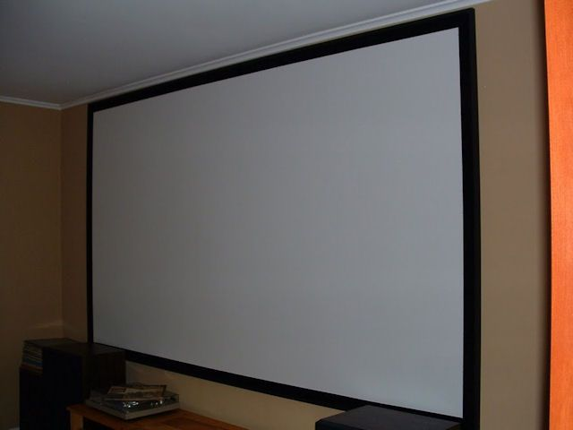 Building a projector screen with blackout cloth. Getting ready for outdoor theater this summer.