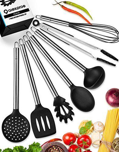 Kitchen Utensils Set - Silicone Cooking Utensils Set - Kitchen Utensil Set - 7 Silicone Utensils Set - Stainless Steel Utensils - Cooking Utensil Set Spatula Set - Kitchen Tools Gadgets - Ladle Spoon.