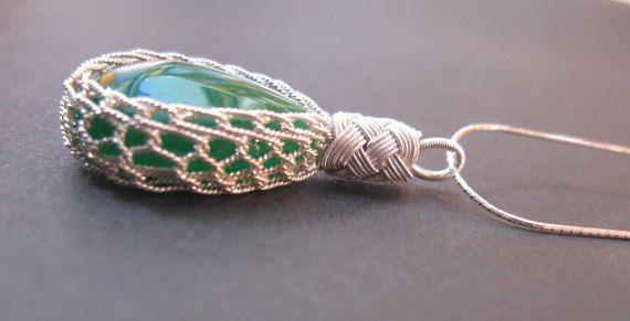 1000K Wire Wrapped Green Garnet Teardrop by LUNAjewelrystudio