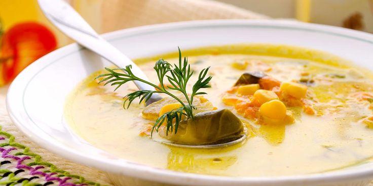 Σούπα με καλαμπόκι και λαχανάκια Βρυξελλών