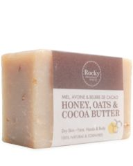 Honey, Oats & Cocoa Soap This mild cleansing soap contains Oatmeal to gently exfoliate dry skin, while the Honey and Cocoa Butter replenish lost moisture and help to protect and lubricate the skin. Honey is a natural humectant and helps to prevent moisture from leaving the skin after you're done washing. This bar is great for normal and dry skin and has a subtle, sweet scent. Normal to dry skin Suitable for face, hands & body