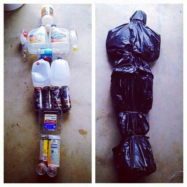 Trash bag body out of empty items. Might need to add a little weight to the containers.