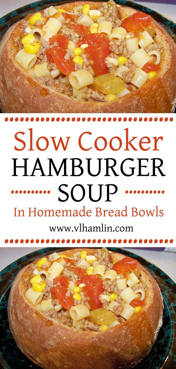 Who says you have to serve soup in bowls? Serve this delicious Slow Cooker Hamburger Soup in Homemade Bread Bowls for fun and lots of flavor.