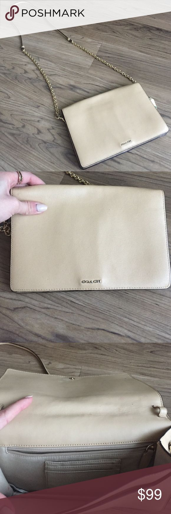 Nude Coach Clutch! This is a nude colored Coach clutch with removable strap. Very gently used. Two inner pockets. Coach Bags Crossbody Bags