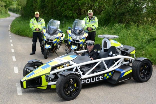 Ariel Atom 3.5R police car. Better pullover if this is behind you flashing. Its a Lambo in Police disguise