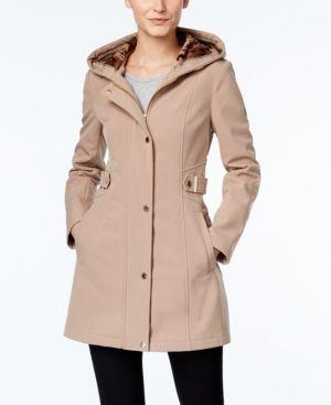 Via Spiga Water-Repellent Hooded Raincoat - Tan/Beige XL