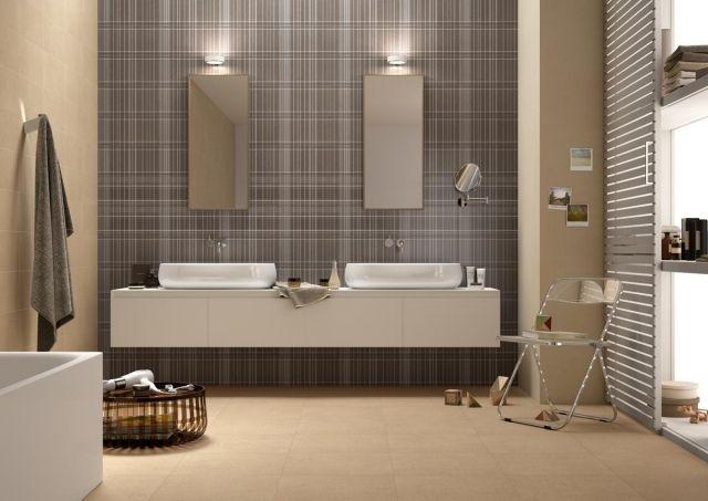 une faïence salle de bains en gris et en  beige clair et deux vasques de forme ovale