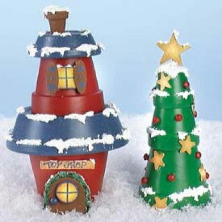 Clay pots...toy shop & christmas tree