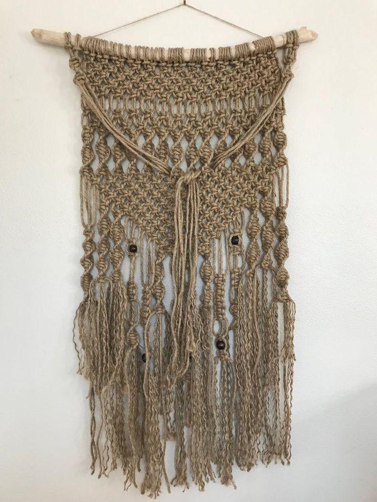 Handmade jute weaving wall hanging woven jute macrame