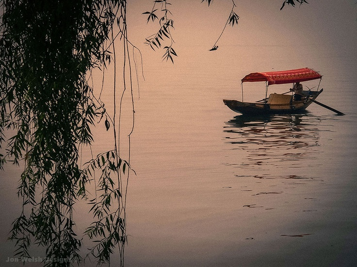 Traditional Chinese boat on the East Lake, Wuhan