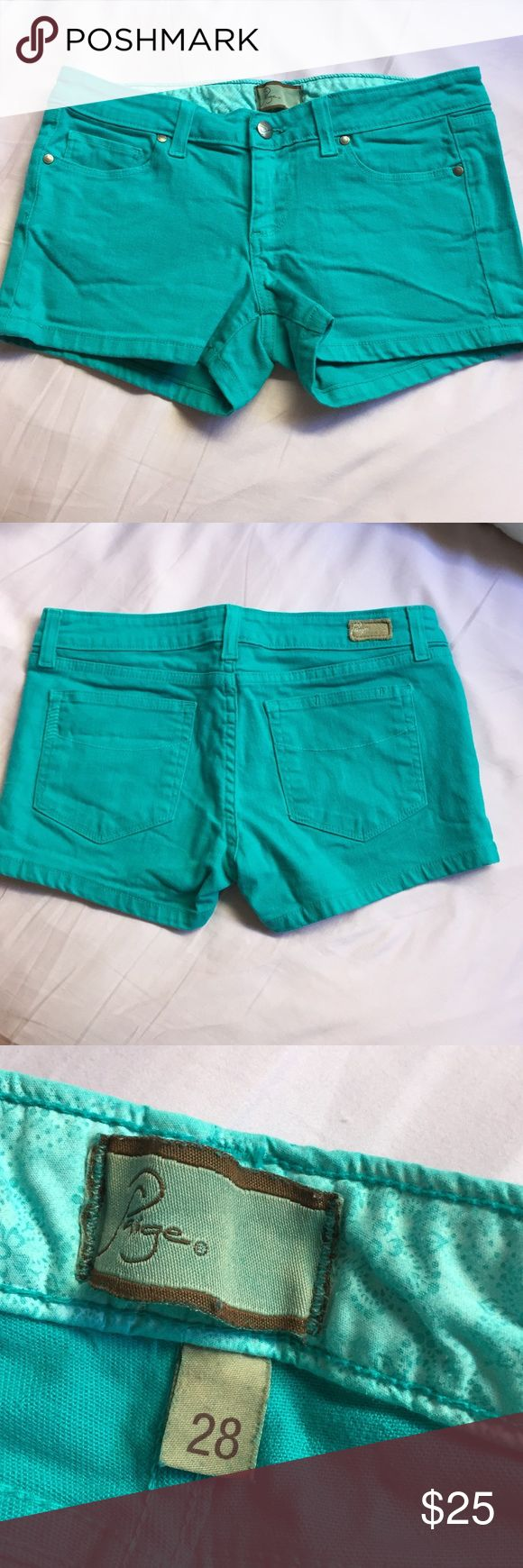 Paige aqua shorts. Very cute shorts. Pause brand. Size 28. Can fit 27 also. Shows light wear. Paige Jeans Shorts