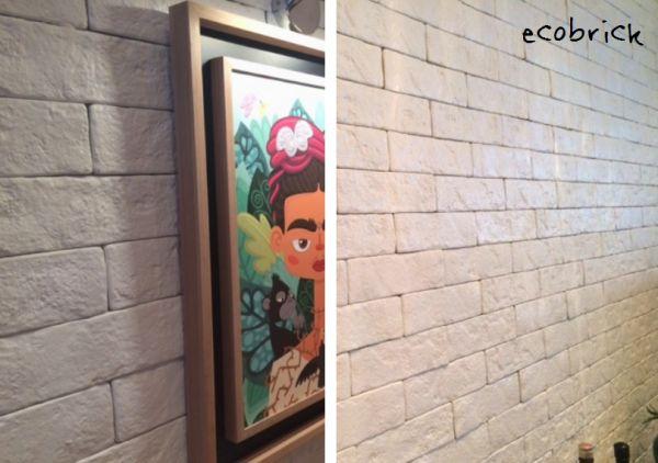 Ecobrick, da Santa Luzia – é feito de poliuretano (tipo isopor) e tem o aspecto bem parecido com o tijolo original. É vendido por unidade, já vem na cor branca (mas pode ser pintado também), é fácil de aplicar e tem o preço bom. 27 x 7,5 x 0,9 cm / 13, 5 x 7,5 x 0,9 cm http://www.santaluziamolduras.com.br/produtos/por-categoria/revestimentos