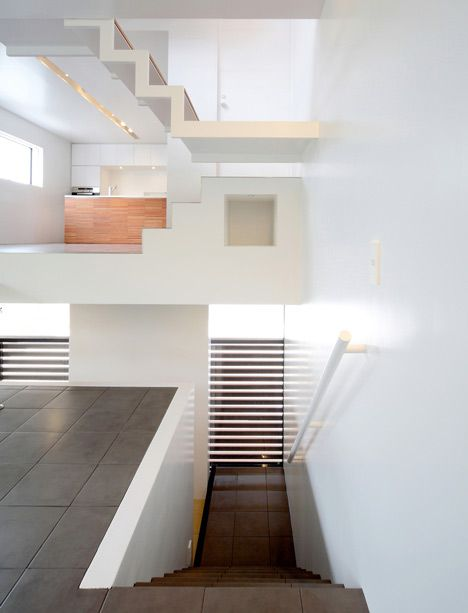 """""""House in Senri is an equally mind-bending house split into 3 stories with a total of 8 tiered floors. The result is an ambiguous arrangement of space and hierarchy, that of which Mr. Escher would most-certainly approve."""" via Spoon & Tamago"""
