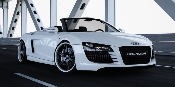 Audi R8 V10 Spyder with 6Sporz forged wheels, special edition black and white and hydraulic coilover