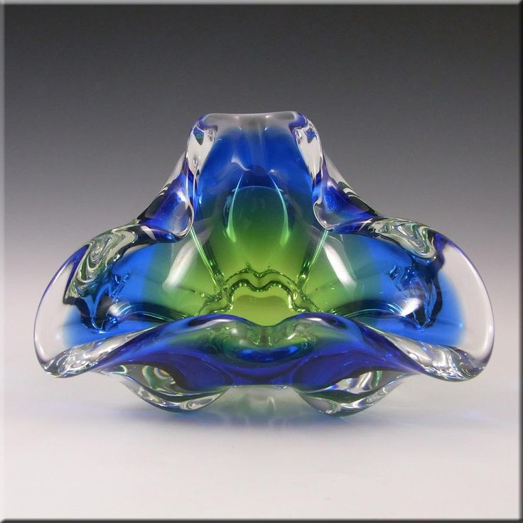 Chribska Czech Blue & Green Glass Bowl by Josef Hospodka - £30.00
