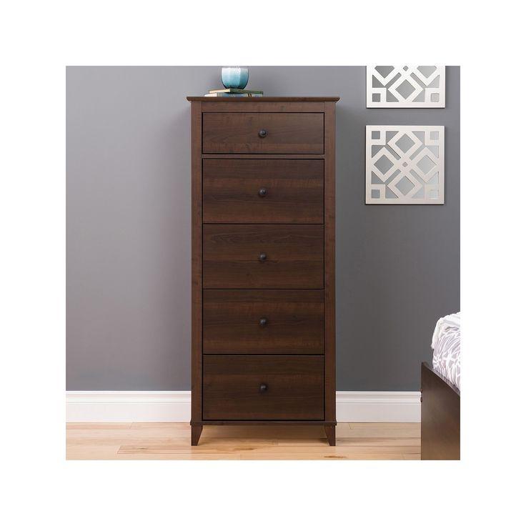 Prepac Yaletown 5-Drawer Tall Espresso Dresser, Brown