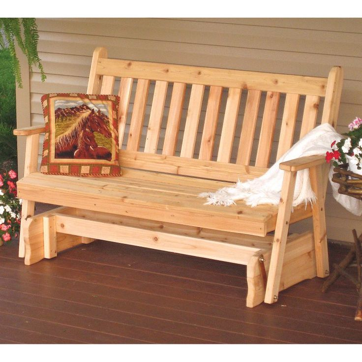 A & L Furniture Western Red Cedar Traditional English Outdoor Loveseat Glider Unfinished - 603C-UNFINISHED