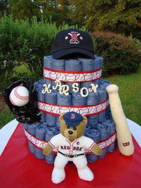 BOSTON RED SOX DIAPER CAKE, so stinkin cute!!!!!