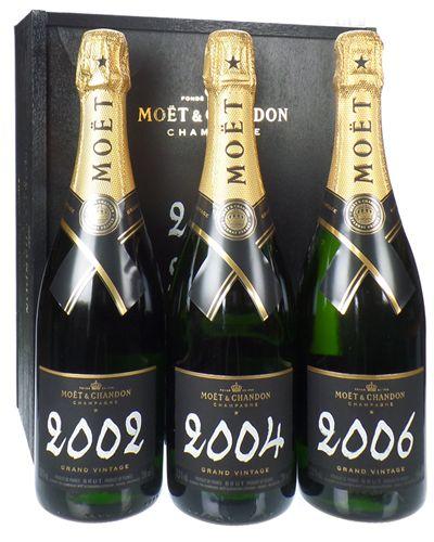 Moet Grand Vintage Champagne Triple Gift Set  Vintages 2002 - 2004 - 2006