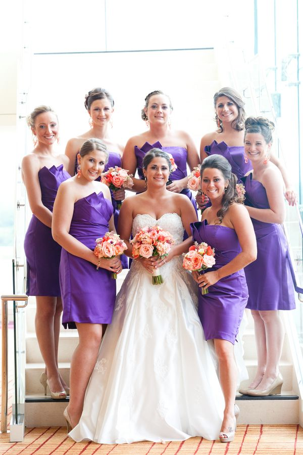 Sunset themed wedding ideas: Purple bridesmaid dresses (Under Grace Photo)
