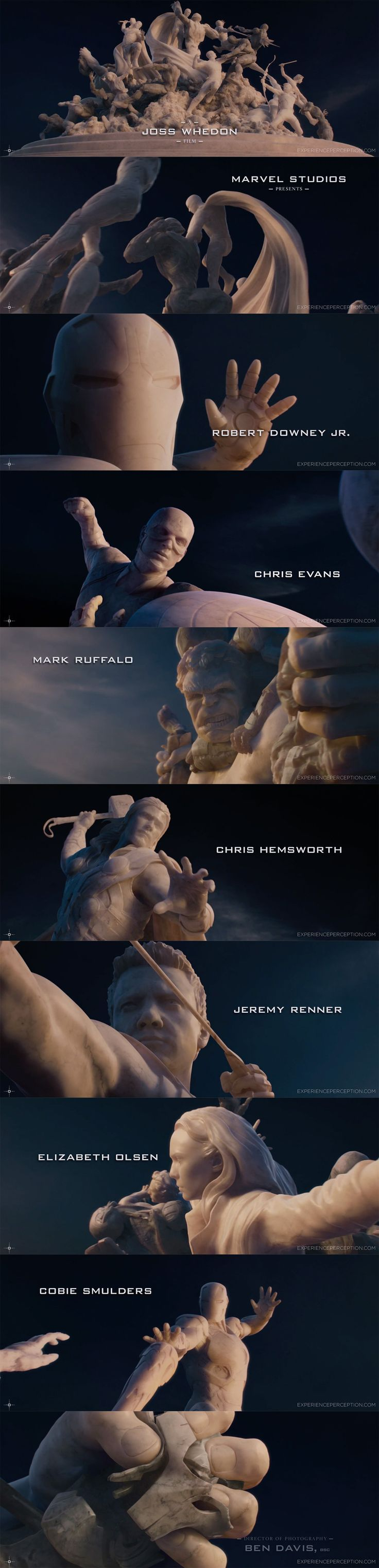I like this title sequence for 'The Avengers' as it involves the actors and creates them as rock figures, which is very complex and very powerful which emphasises the strength of the characters.