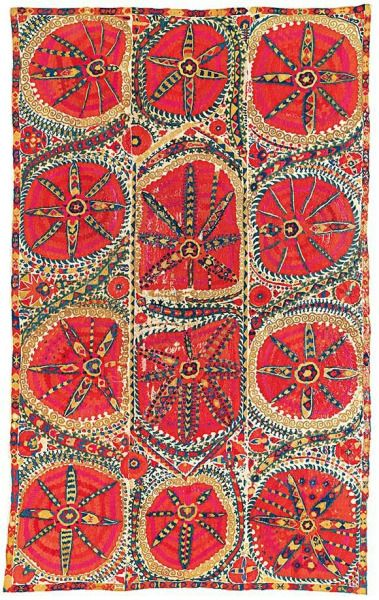 A 'Large medallion' uzbek Suzani, Bukhara, Uzbekistan, first half 19th century. From a French private collection, Estimate price on auction £20.000-30.000