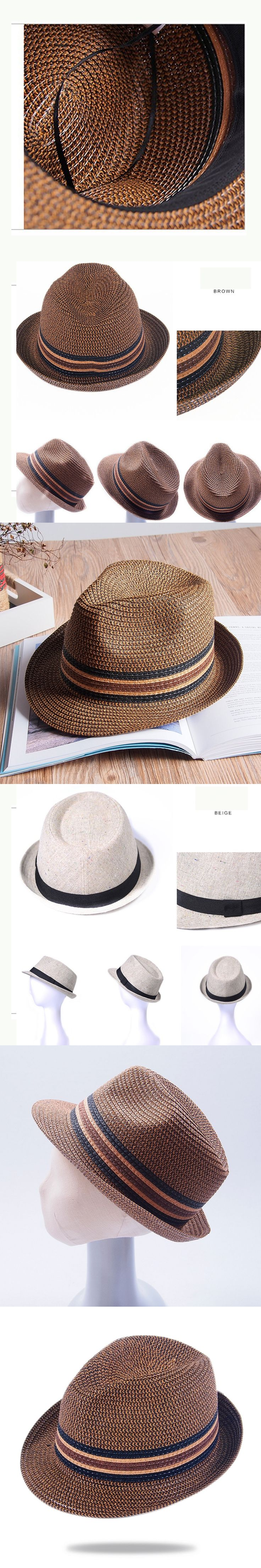 2017 Breathable cool The Panama Hat for Male Simple Formal Casual knitted crochet straw Fedoras hats men Apparel Accessories