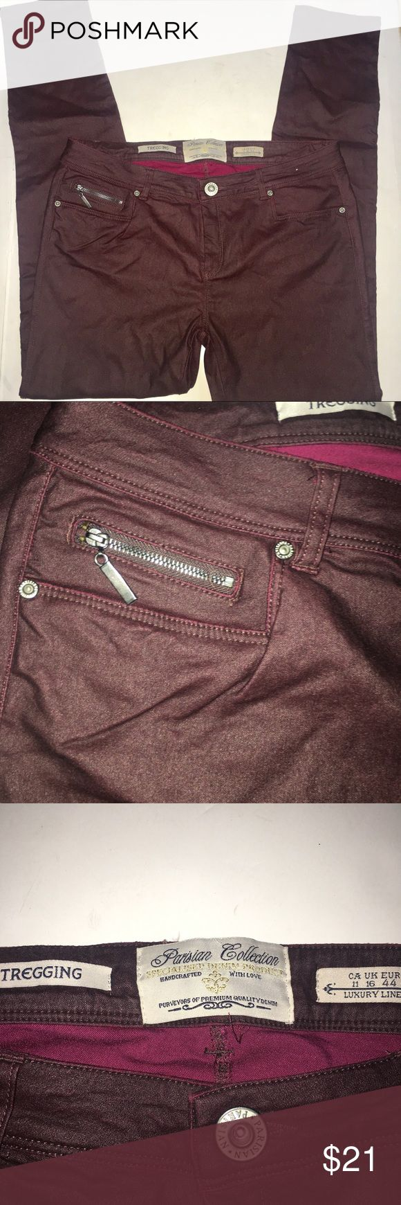 """Parisian Collection treggings Super stretchy. Very smooth kind of has a leather look. The inside is cloth lined. 2 pockets in the front with one small zippered pocket. Zippered button closure. Back has 2 zippered pockets. Dark wine color. In excellent condition! 32"""" waist x 30"""" inseam 9"""" rise   UK Size 16 equivalent to a US size 12 Parisian Collection Pants Leggings"""