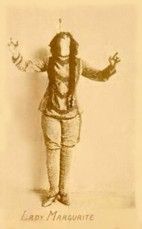 Lady Margurite was a female circus sword swallower who may have performed in the late 1800s. This photo was taken of her in Davenport, Iowa.