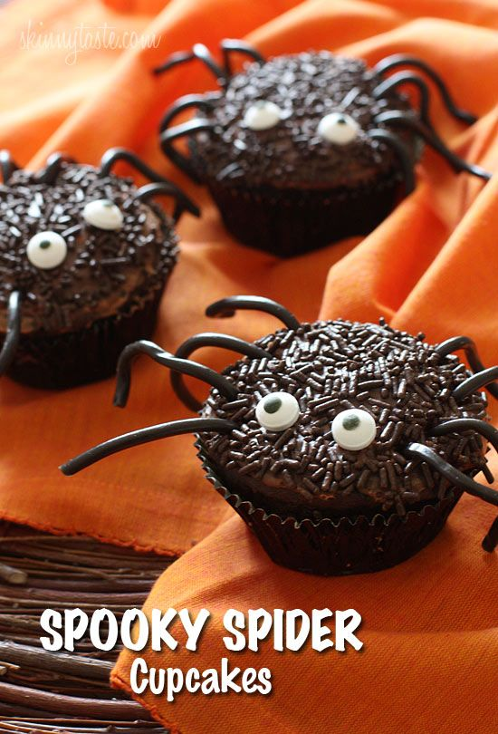 Spooky Spider Cupcakes - these Spooky Spider Cupcakes are lighter on the waistline, and are sure to be all the fright at your next Halloween party.