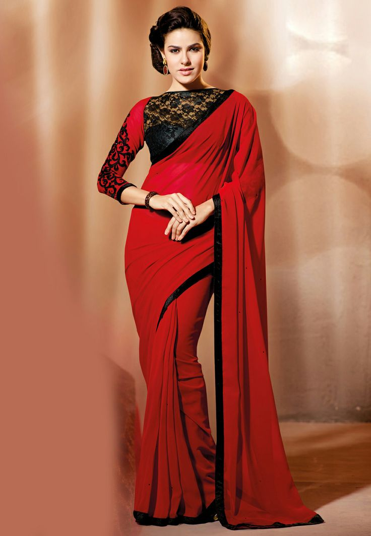 #Red Faux Georgette #Saree @ $64.00