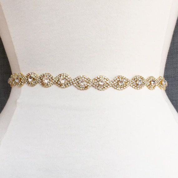 Thin Gold Crystal Rhinestone Belt -  gold Bridal Belt or Bridesmaids Belt - Thin Belt - Gold Bridesmaid Belt - Gold Headband EYM B036