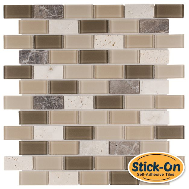 Mineral Tiles - Peel and Stick Rome Glass Mosaic Tile, $7.99 (http://www.mineraltiles.com/peel-and-stick-rome-glass-mosaic-tile/)