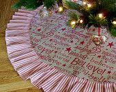Items similar to Burlap Christmas Tree Skirt, BELIEVE, Burlap Tree Skirt, Rustic Christmas Decor, Country Christmas Decor on Etsy