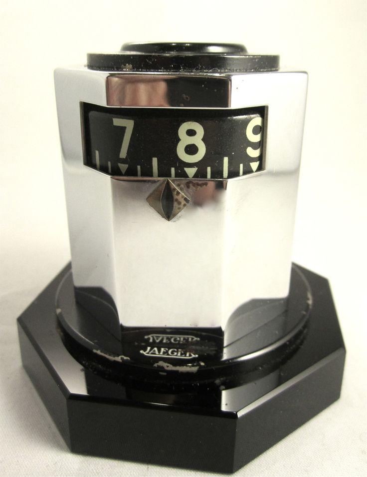 Uhr Tischuhr Art Deco` Jaeger´Jaeger-LeCoultre Digital um 1930 schwarz Chrom 8 Tage Werk SELTENHEIT !!
