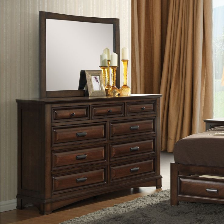 Broval Light Espresso Dresser and Mirror