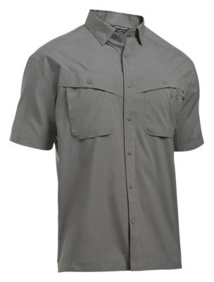 Under Armour Tide Chaser Short-Sleeve Fishing Shirt for Men - Tan Stone/Fresh Clay - 2XL