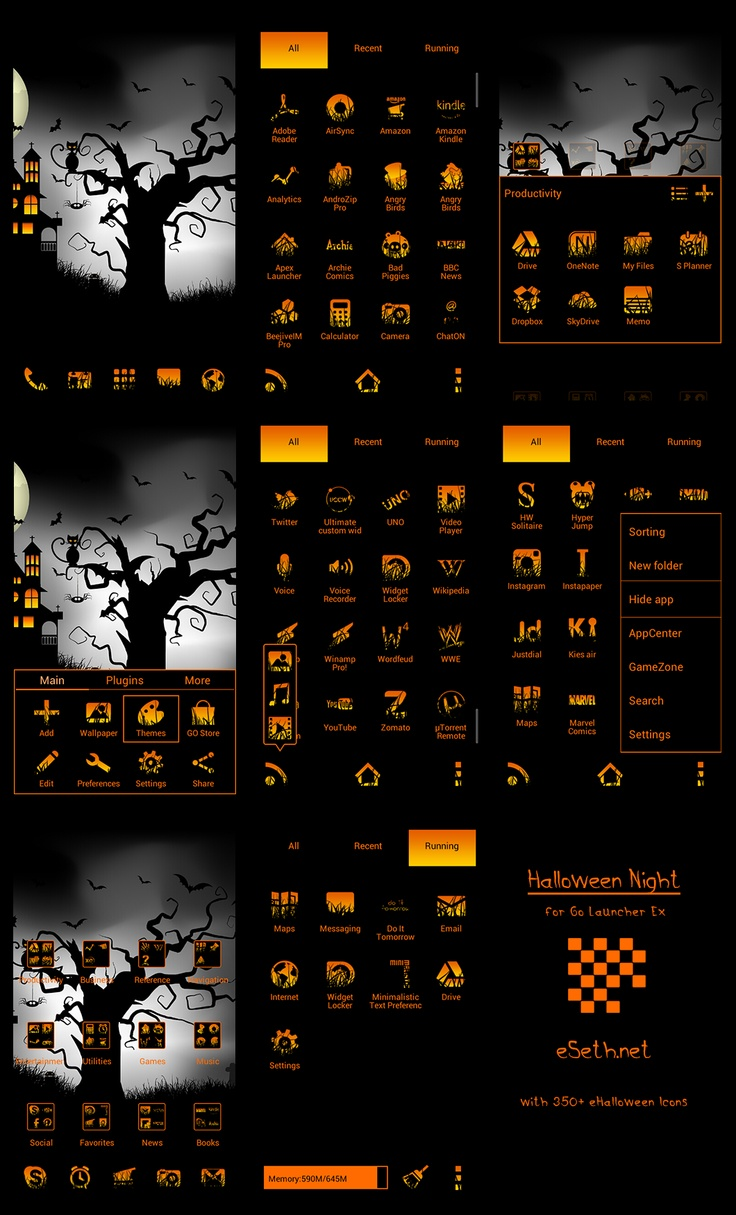 Android go launcher themes 18 pinterest halloween night theme for go launcher ex is developed by gseth and is compatible with all android voltagebd Choice Image