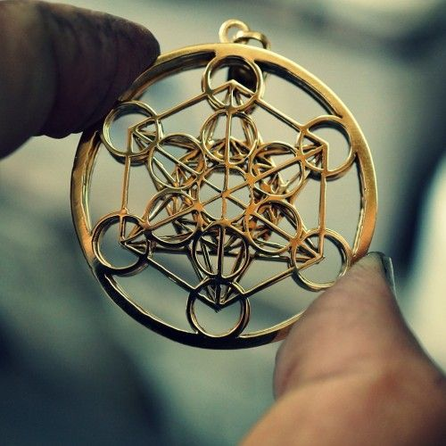 Metatron Cube Gold - Cross culture, sacred geometry symbol derived from Fruit of…