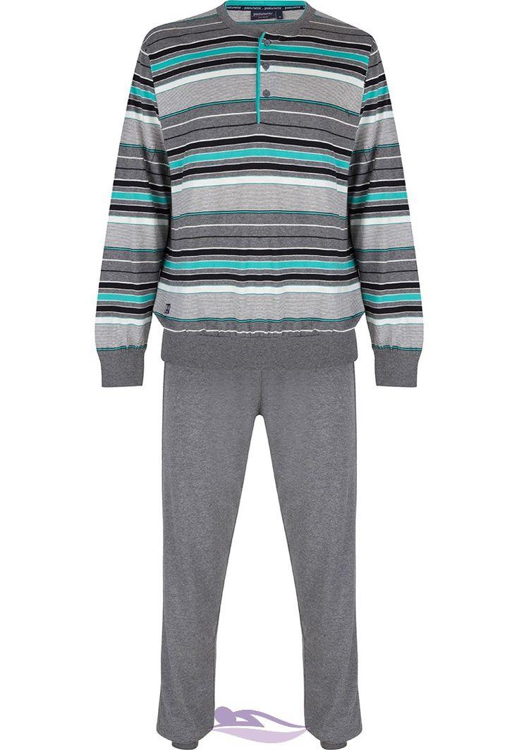 Pastunette for Men light seagreen modern multi-fine striped men's pyjama