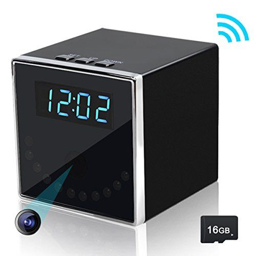 Corprit Wireless Hidden Spy Camera Night Vision Network IP Cam HD 1080P WiFi Home Security Camera Black Cube Table Alarm Clock Surveillance Mini DVR16GB Micro SD Card Included -- For more information, visit image link.Note:It is affiliate link to Amazon.