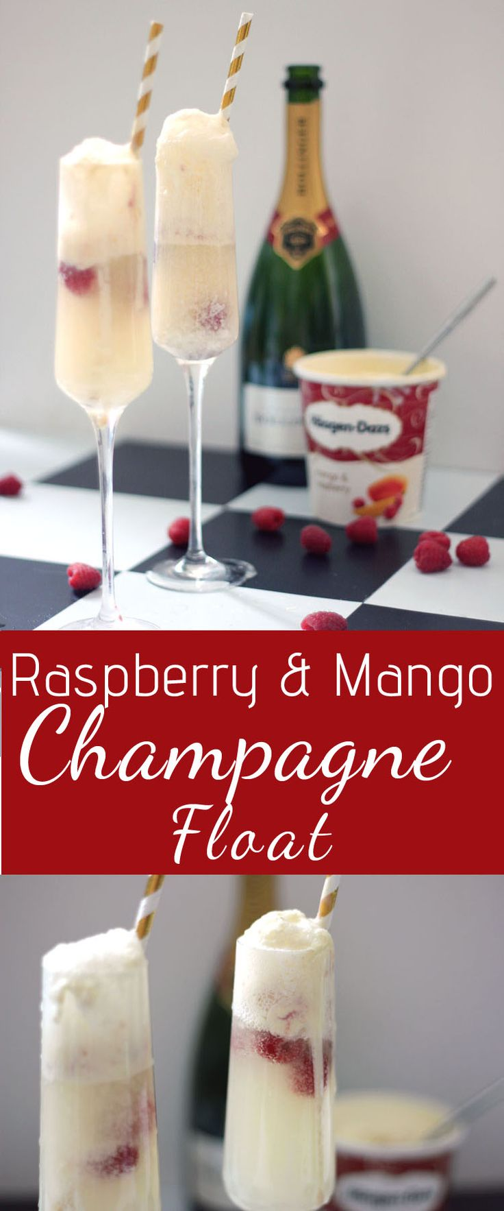 Raspberry and Mango Champagne Float Cocktail with Haagen Dazs Ice Cream and Fresh Raspberries