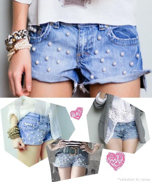 jeans + perolas = Tendência