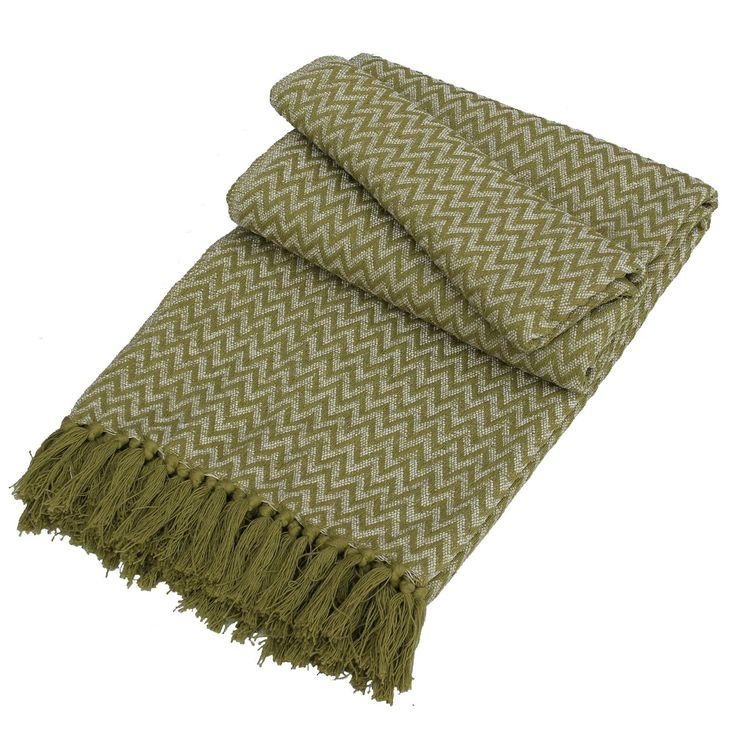 The Chenille Green Zig Zag Throw has a classic zig zag pattern in two tones of mossy green. This stylish throw can easily spread across any duvet to add more style with this natural colour. The edge of the throw features avacado green tassels, creating a homemade finished look. Main fabric : 65% Polyester/35% Cotton. Dimentions : 125 x 150cm. Wash at 30 degrees. Do not bleach, iron, clean or tumble dry. Do not place on light coloured surfaces as dye may transfer.