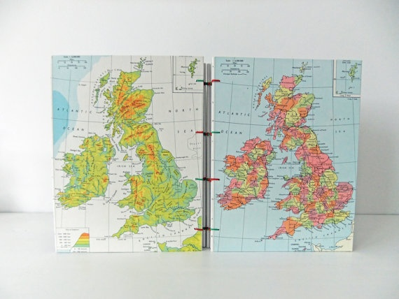 United Kingdom Travel journal - Handmade map journal #peonyandthistle #folksy #etsy